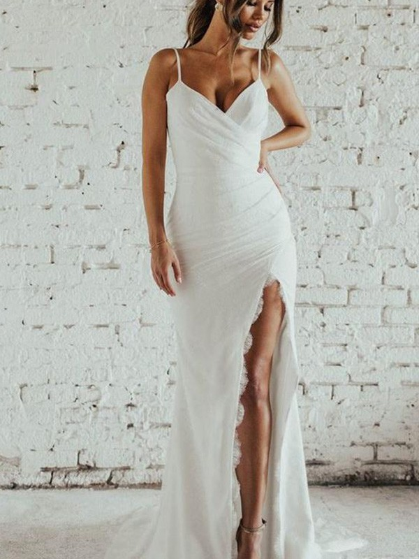 Spaghetti Straps Sheath/Column Sweep/Brush Train Sleeveless Ruched Chiffon Wedding Dresses