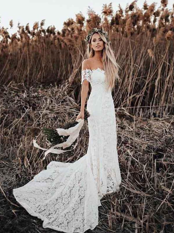 Lace Trumpet/Mermaid Court Train Off-the-Shoulder Applique Short Sleeves Wedding Dresses