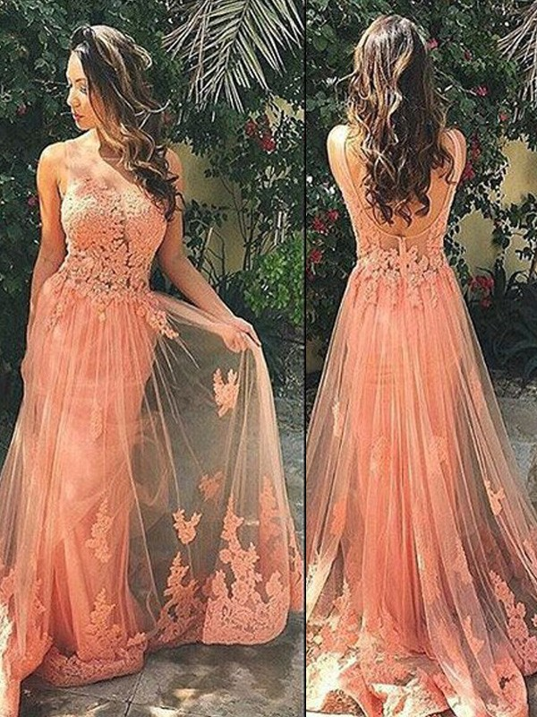 A-Line/Princess Straps Sleeveless Tulle Sweep/Brush Train Applique Dresses