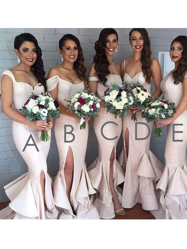 Trumpet/Mermaid Sleeveless Floor-Length Layers Sequins Bridesmaid Dresses