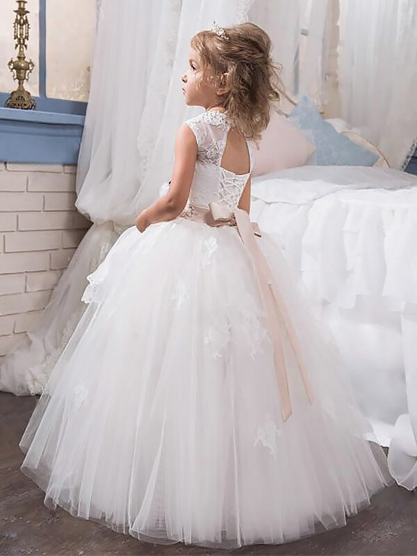Ball Gown Jewel Sleeveless Crystal Floor-Length Tulle Flower Girl Dresses