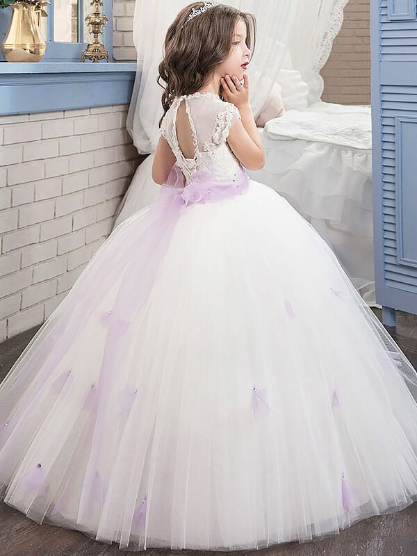 Ball Gown Jewel Short Sleeves Sash/Ribbon/Belt Floor-Length Tulle Flower Girl Dresses