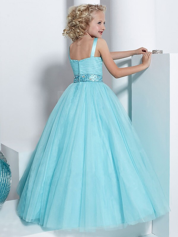 Ball Gown Straps Sleeveless Crystal Floor-Length Tulle Flower Girl Dresses