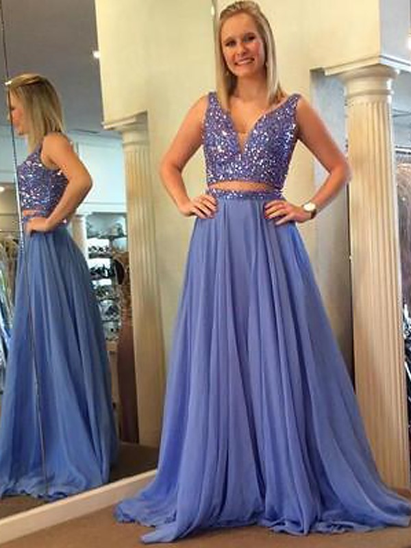 A-Line Sleeveless V-neck Chiffon Beading Floor-Length Two Piece Dresses
