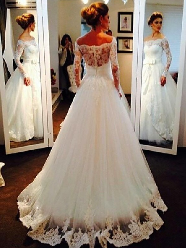 Ball Gown Tulle Long Sleeves Off-the-Shoulder Sweep/Brush Train Wedding Dresses