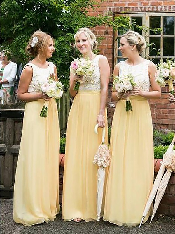 A-Line Scoop Sleeveless Chiffon Floor-Length Bridesmaid Dresses