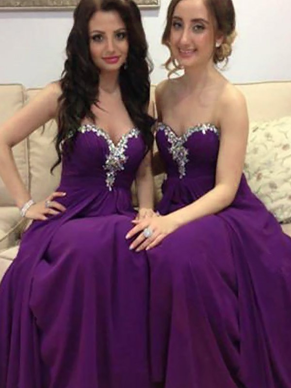 A-Line Sleeveless Beading Sweetheart Chiffon Floor-Length Bridesmaid Dresses