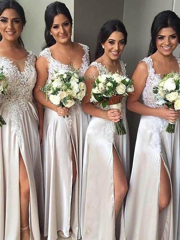 Sheath V-neck Satin Sleeveless Floor-Length Bridesmaid Dresses