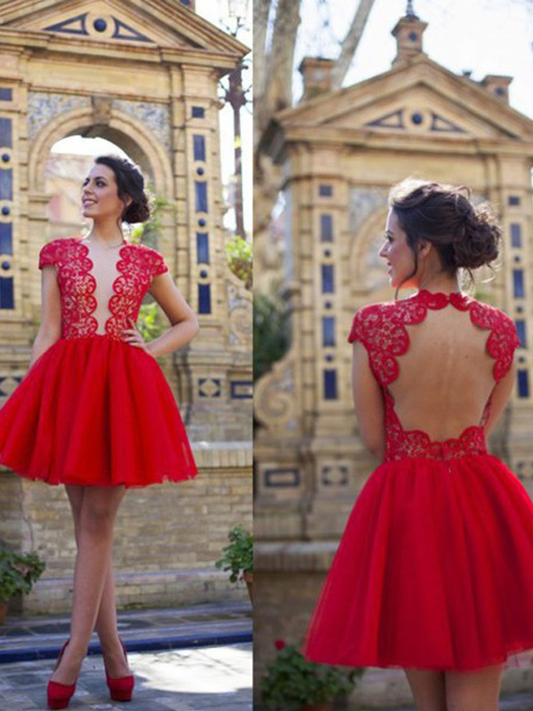 A-Line/Princess Short Sleeves Scoop Lace Short/Mini Tulle Dresses