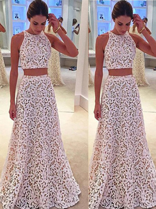 A-Line/Princess Scoop Sleeveless Floor-Length Lace Dresses