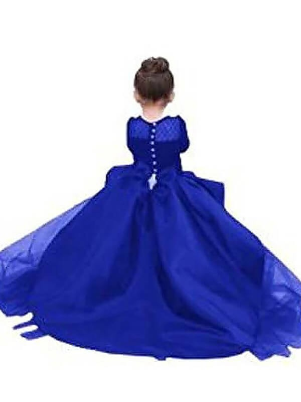 Ball Gown Scoop Long Sleeves Sash/Ribbon/Belt Floor-Length Satin Flower Girl Dresses