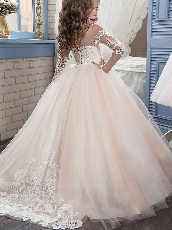 Ball Gown Scoop Long Sleeves Sweep/Brush Train Tulle Flower Girl Dresses