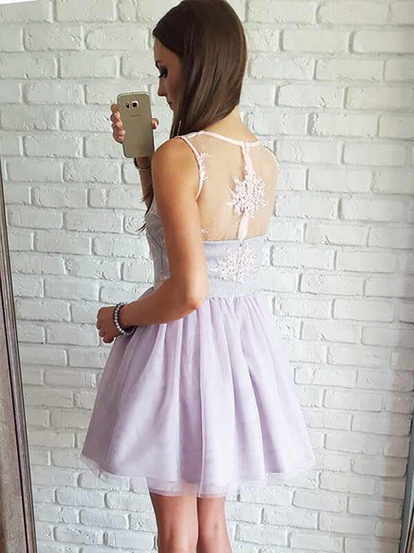 A-Line/Princess V-neck Sleeveless Lace Tulle Short/Mini Dresses