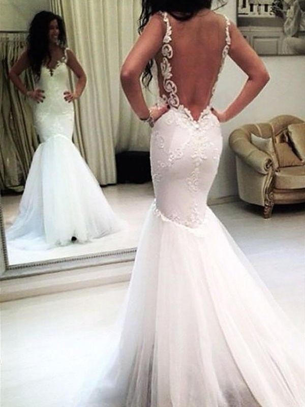 Mermaid Chapel Train Applique Spaghetti Straps Sleeveless Tulle Wedding Dresses