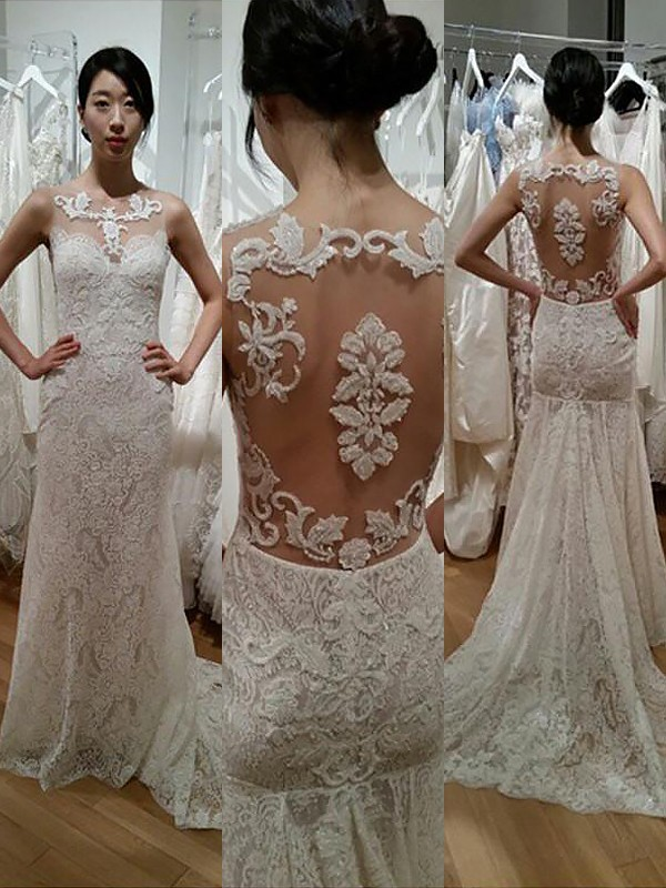 Mermaid Lace Scoop Sleeveless Sweep/Brush Train Wedding Dresses