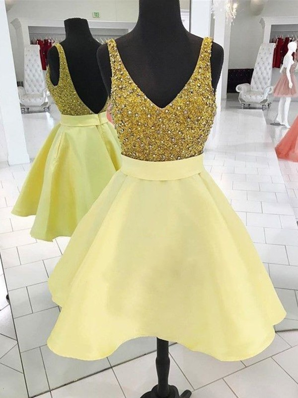 A-Line/Princess V-neck Sleeveless Satin Short/Mini Dresses With Beading