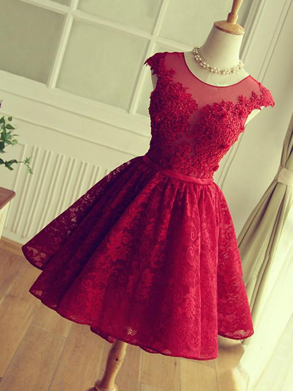 A-Line/Princess Jewel Sleeveless Short/Mini Dresses With Lace