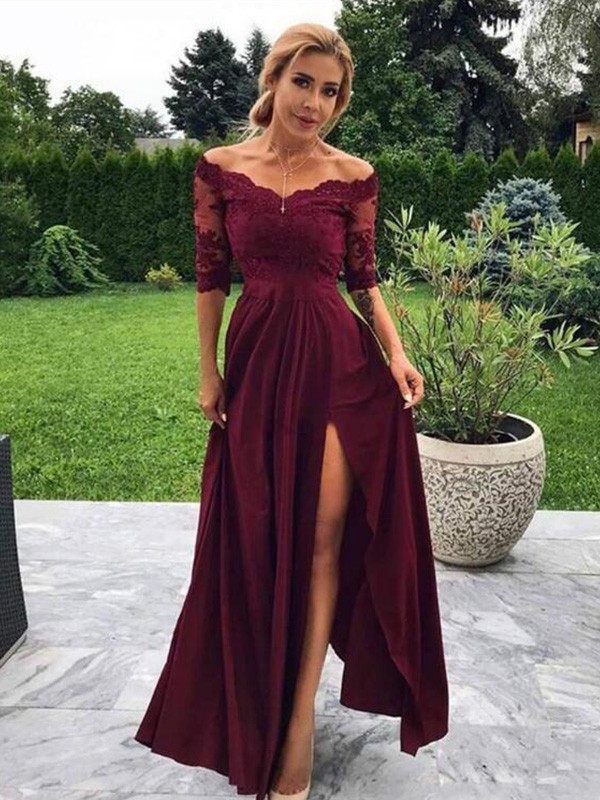 A-Line/Princess Off-the-Shoulder Satin Applique 1/2 Sleeves Long Dresses