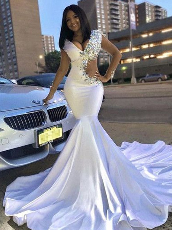 Mermaid Satin Beading V-neck Long Sleeves Court Train Dresses