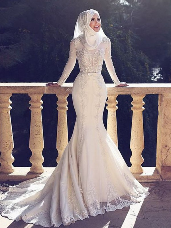 Trumpet/Mermaid Tulle Jewel Lace Sweep/Brush Train Long Sleeves Wedding Dresses