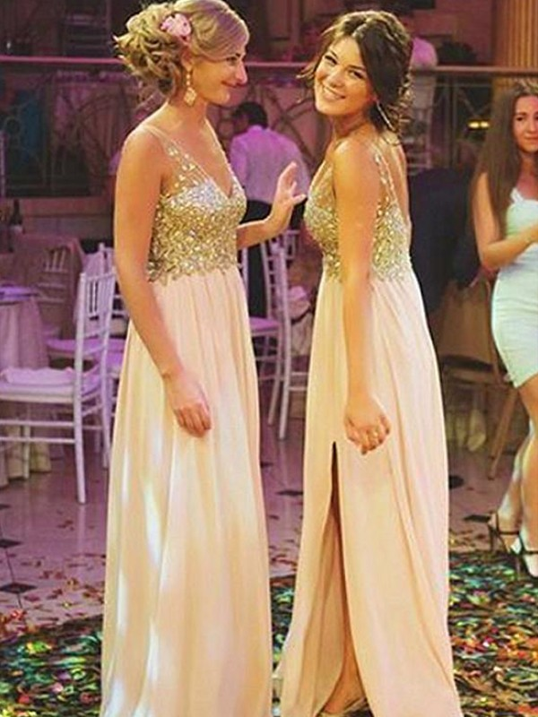 A-Line/Princess Sleeveless V-neck Sweep/Brush Train Sequin Chiffon Bridesmaid Dresses