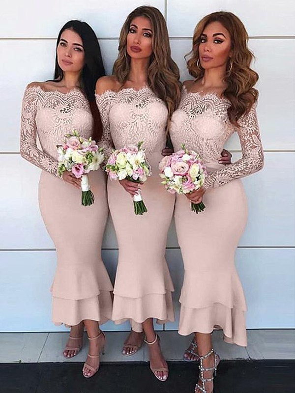 Sheath/Column Jersey Off-the-Shoulder Lace Ankle-Length Long Sleeves Bridesmaid Dresses