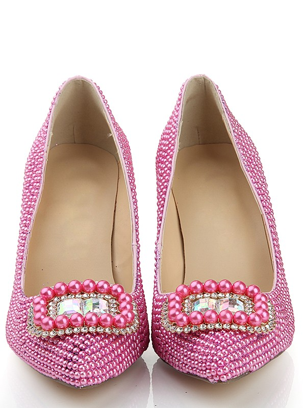 Women's Patent Leather Closed Toe Stiletto Heel With Pearl Pink Wedding Shoes