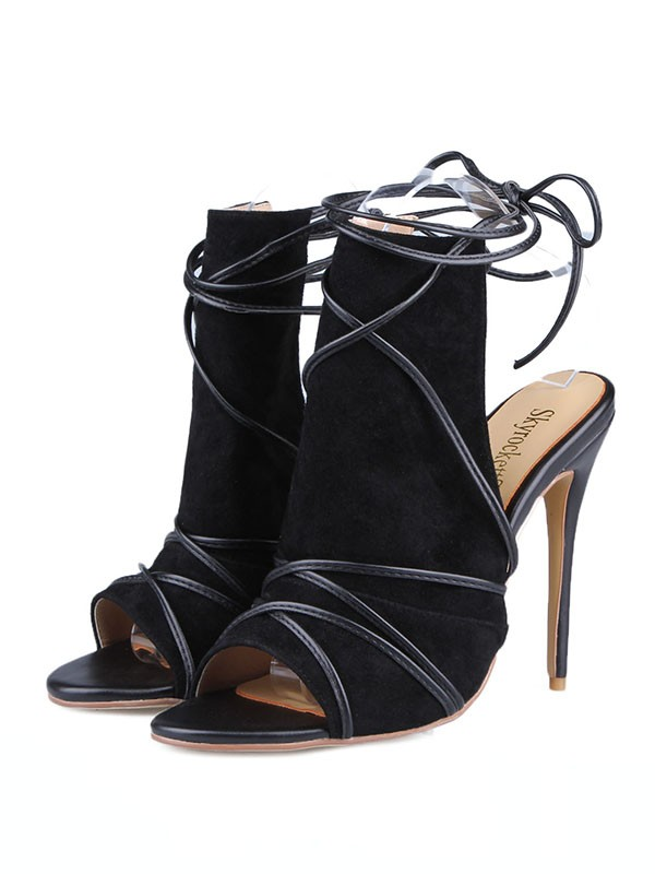 Women's Peep Toe Suede Stiletto Heel With Buckle Sandals Shoes