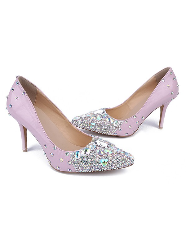 Women's Patent Leather Closed Toe Stiletto Heel With Rhinestone High Heels