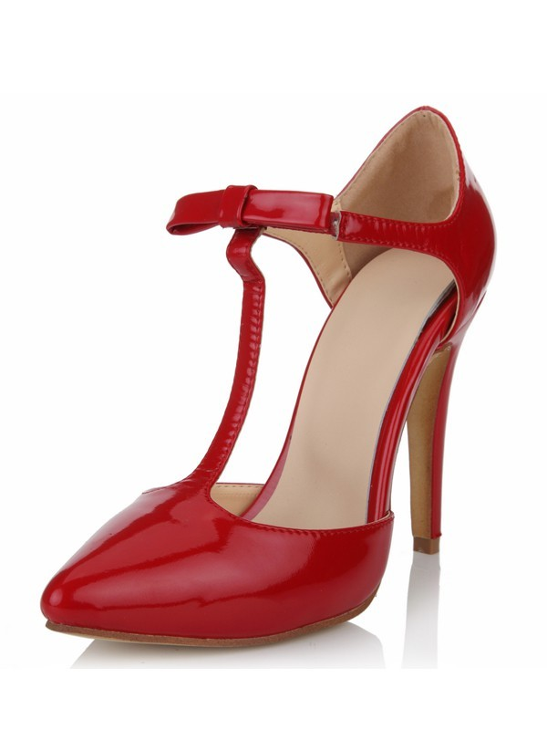 Women's Patent Leather Stiletto Heel Closed Toe T-Strap High Heels