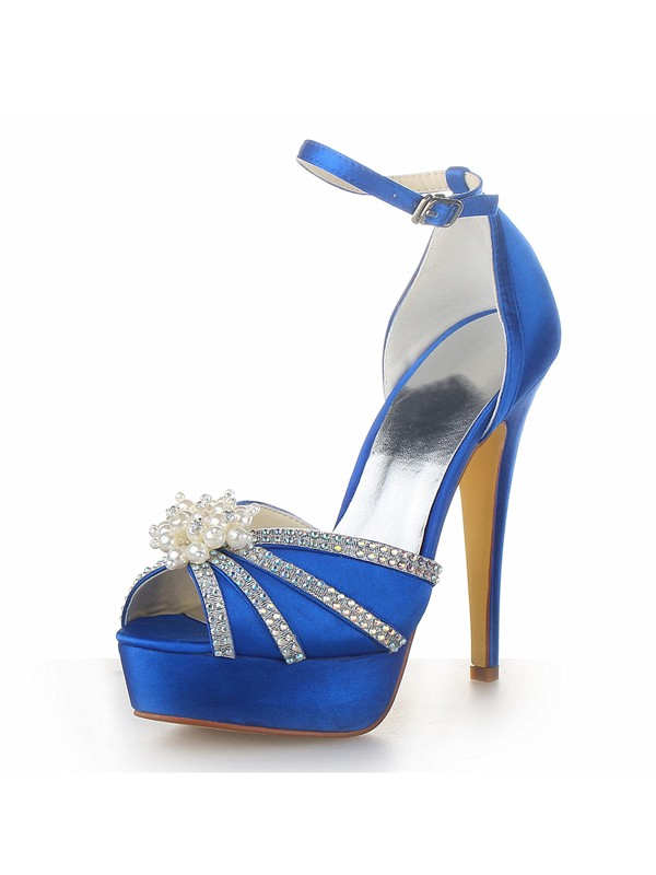 Women's Satin Stiletto Heel Platform Peep Toe With Pearl Royal Blue Wedding Shoes