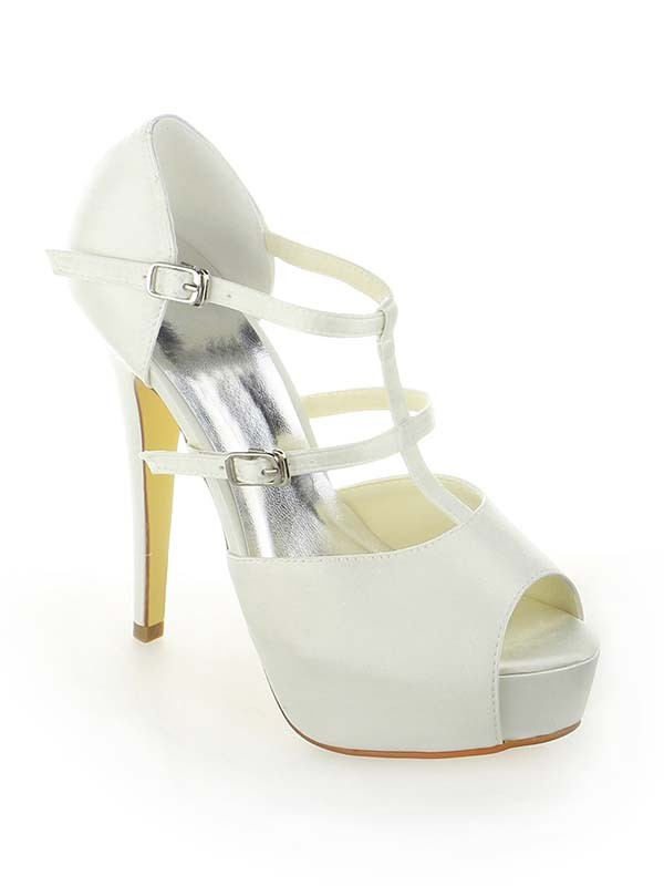 Women's Satin Platform Peep Toe Stiletto Heel With Buckle White Wedding Shoes