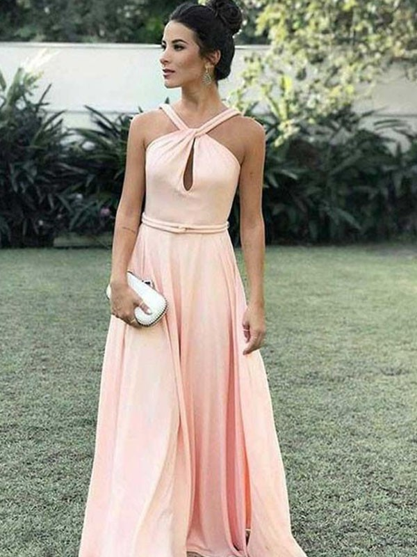 A-Line Halter Sleeveless Floor-Length Chiffon Dress