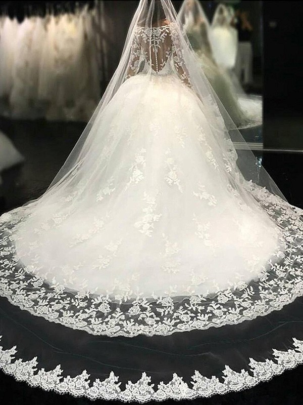 Ball Gown Scoop Long Sleeves Lace Cathedral Train Tulle Wedding Dress