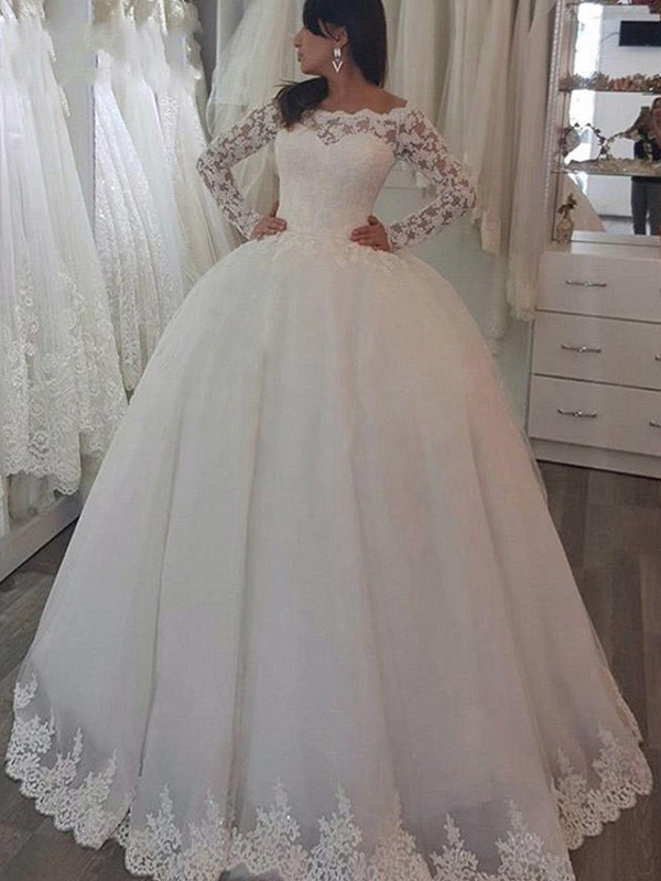Ball Gown Long Sleeves Off-the-Shoulder Sweep/Brush Train Lace Wedding Dress