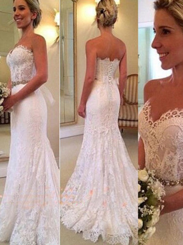 Mermaid Sleeveless Sweetheart Sweep/Brush Train Lace Wedding Dress
