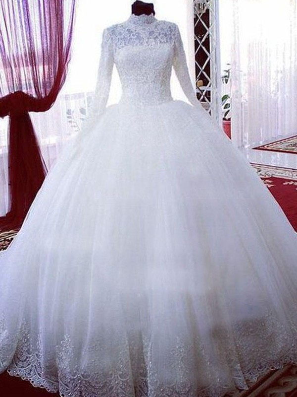 Ball Gown Lace Tulle High Neck Long Sleeves Chapel Train Wedding Dress Queenabelle India