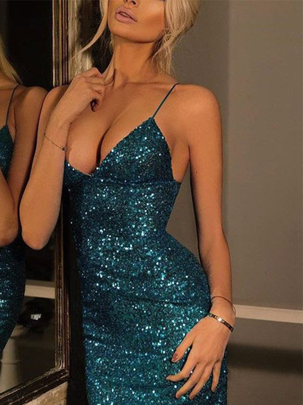 Sheath Spaghetti Straps V-neck Sequin Short Dress