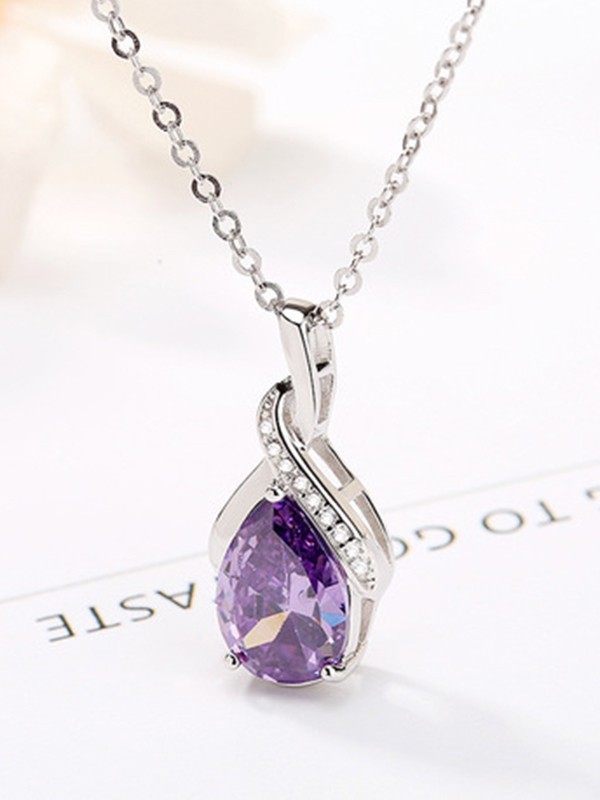 Brilliant 925 Sterling Silver With Rhinestone Necklaces